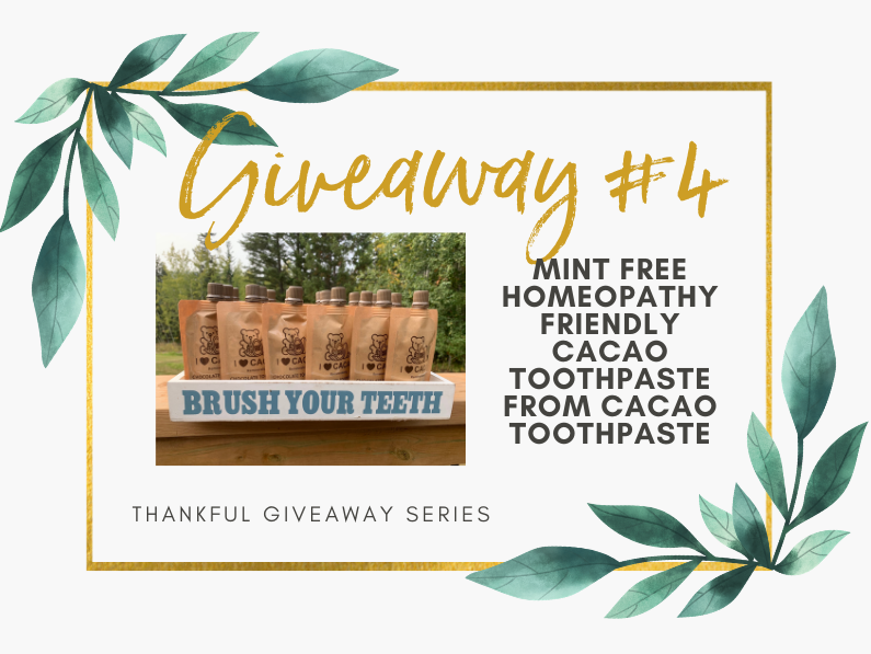 Giveaway #4 – Mint free homeopathy friendly cacao toothpaste from Cacao Toothpaste