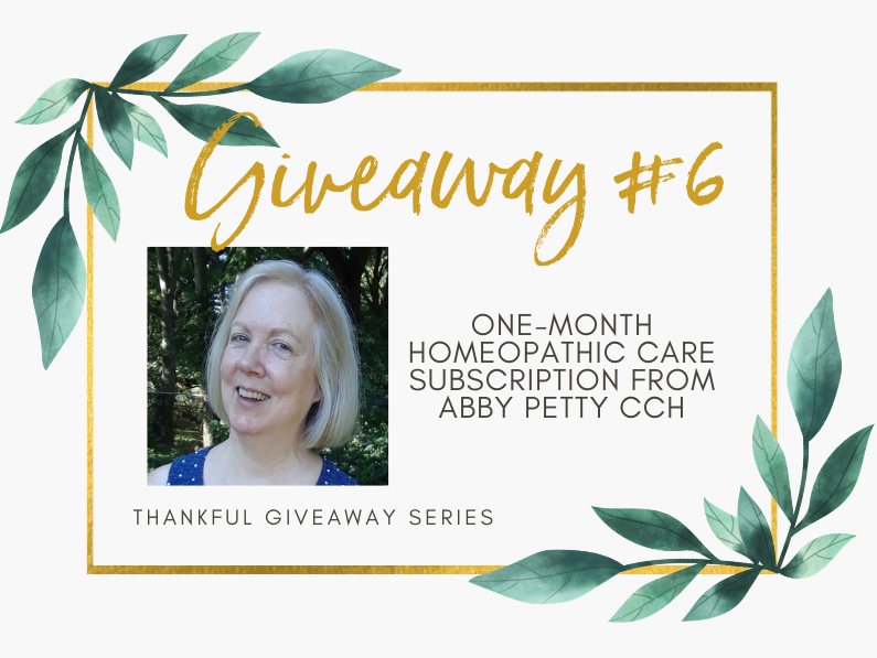 Giveaway #6 – One-month Homeopathic Care Subscription from Abby Petty, CCH
