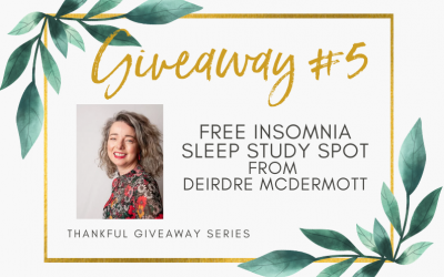 Giveaway #5 – FREE Insomnia Sleep Study Spot from  Deirdre McDermott